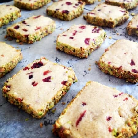 Cardamom, Cranberry and Pistachio Sables @ Recipes From A Pantry
