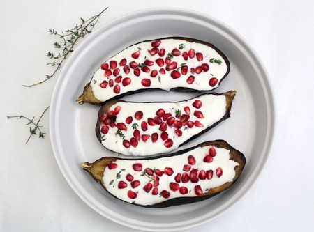 Roasted Aubergines with Lemon Yoghurt and Pomegranate