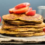 Wholemeal Pumpkin Pancakes with Spiced Apple Compote
