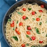 Pasta with Basil and a Savoury Rhubarb Sauce
