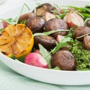 Quinoa and Wild Garlic Sauce with Grilled Mushrooms
