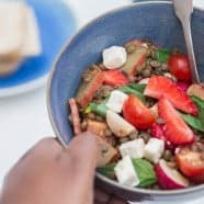 Maple Tossed Rhubarb, Strawberry and Lentil Salad