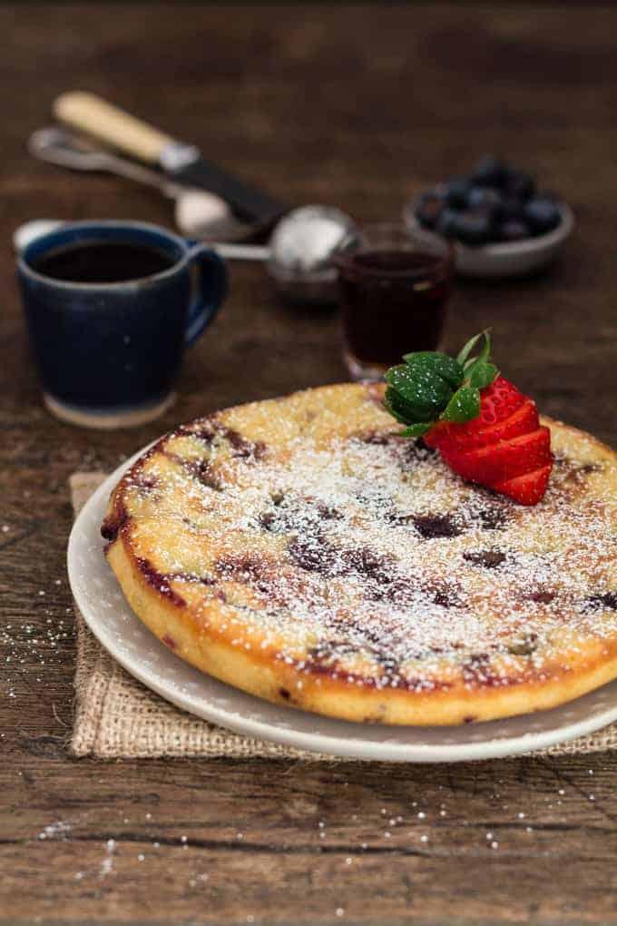 Baked Vanilla Blueberry Pancake
