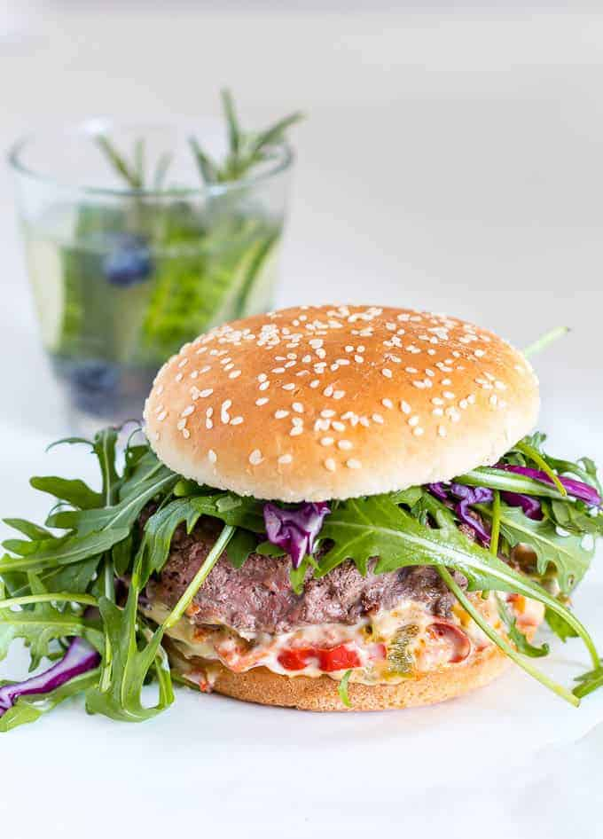 beef burger with chunky pepper mayonnaise| Recipes From A Pantry