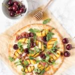 Grilled Peach, Cherry and Parma Ham Pizza