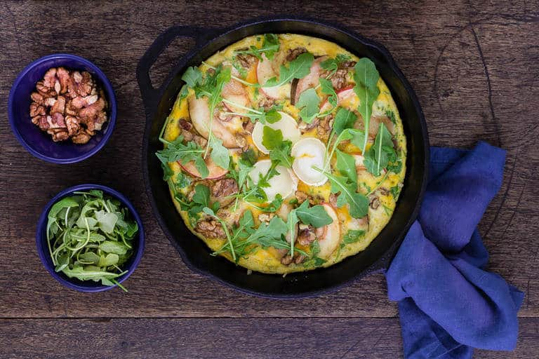 pear and apple frittata with walnuts, goats cheese and a drizzle of honey. | Recipes From A Pantry