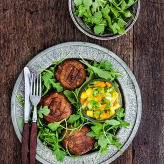 grilled portobello mushroom steaks with an apricot and mango salsa   Recipes From A Pantry
