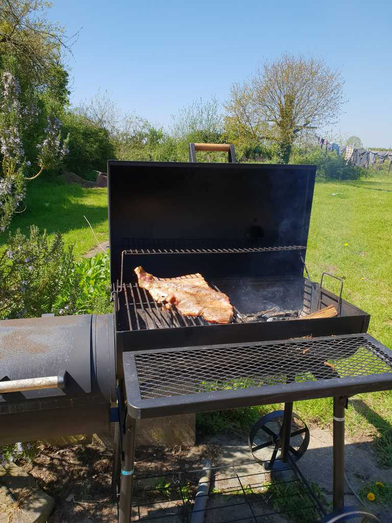 grill outside on sunny day with grilled ribs cooking