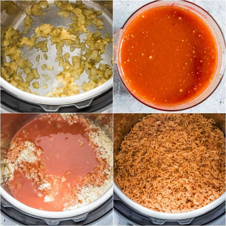 image collage showing the steps for making instant pot jollof rice