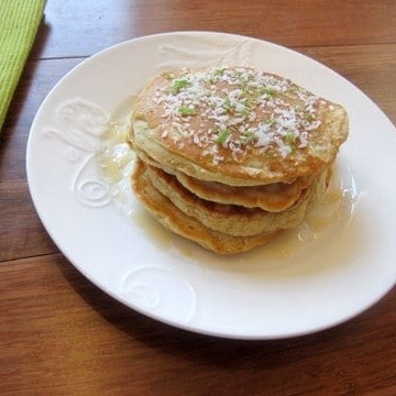 Doble coconut and cardamom pancakes