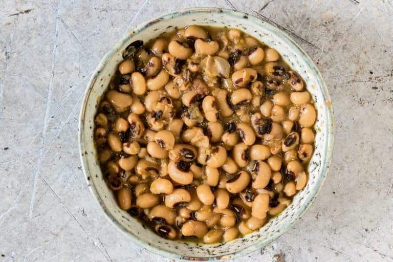 cooked black eyed beans in a decorative bowl