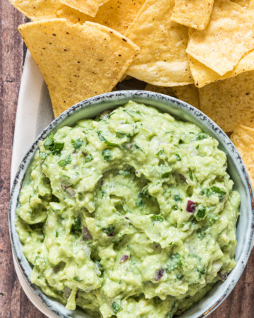 close up of easy guacamole made at home