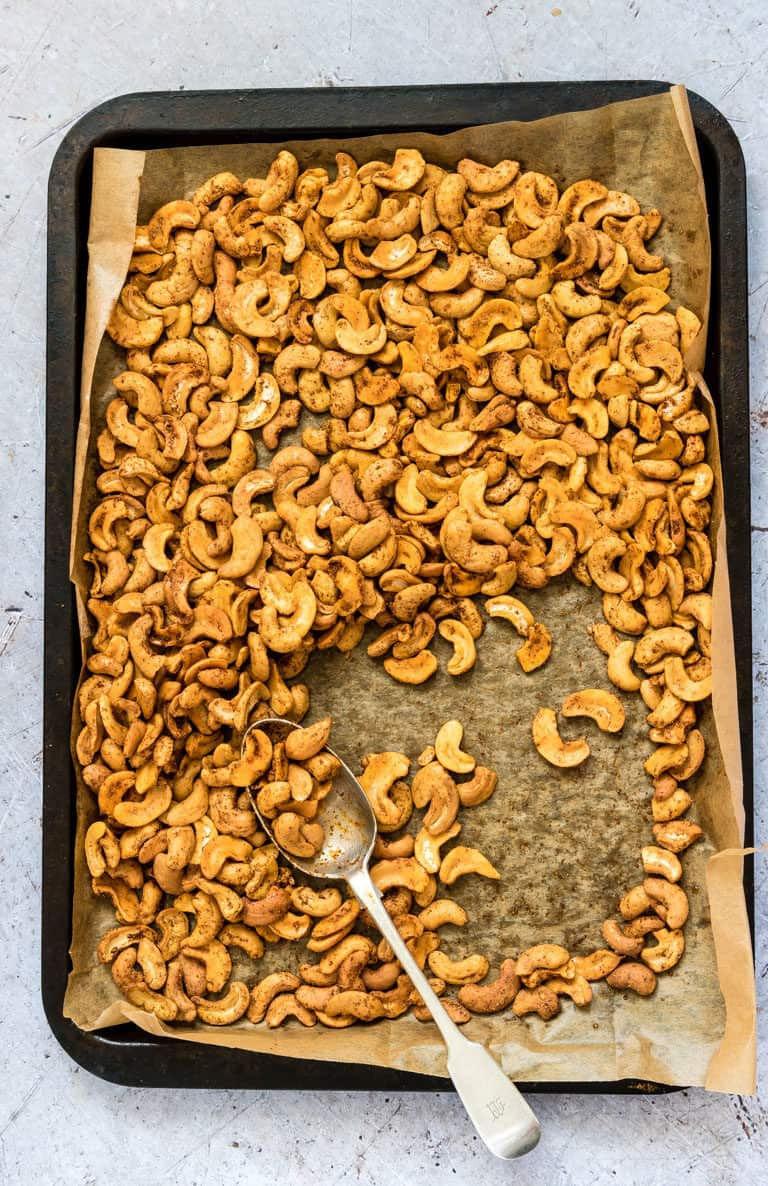 spicy roasted cashew nuts on a tray