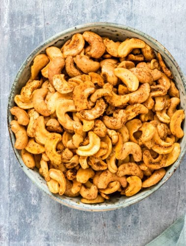 A bowl of spicy roasted cashew nuts