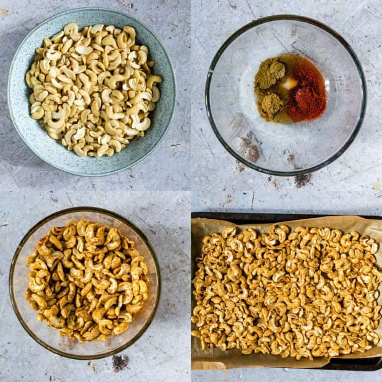 a collage of how to make roast cashews