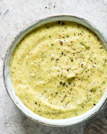 a bowl of zucchini dip
