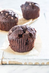 3 easy chocolate banana muffins on a table