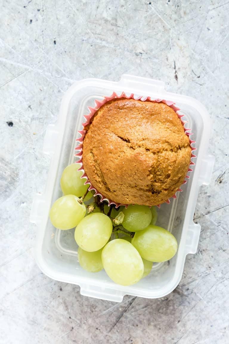 A butternut squash muffin in a lunch box