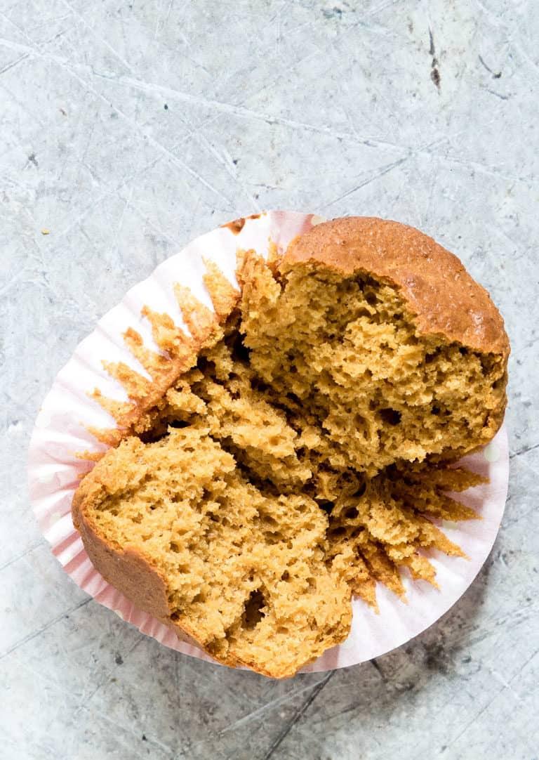 a butternut squash muffin split in half