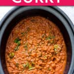 slow cooker lentil curry in the crockpot