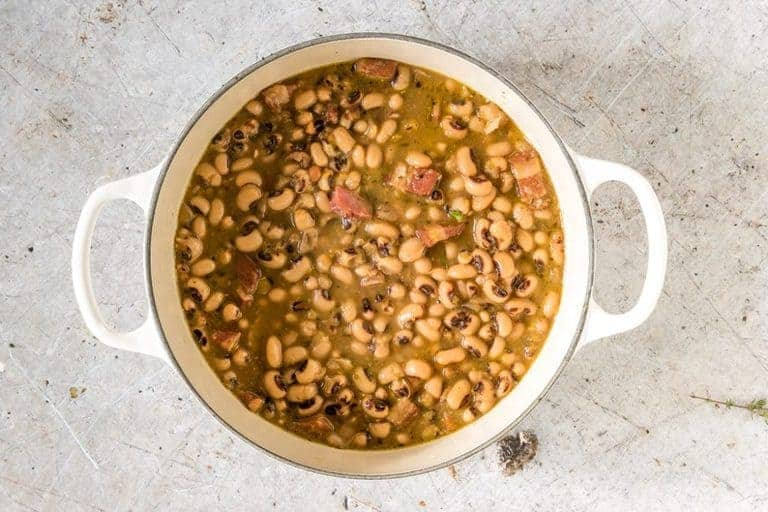 A pot of Hoppin' John soup d