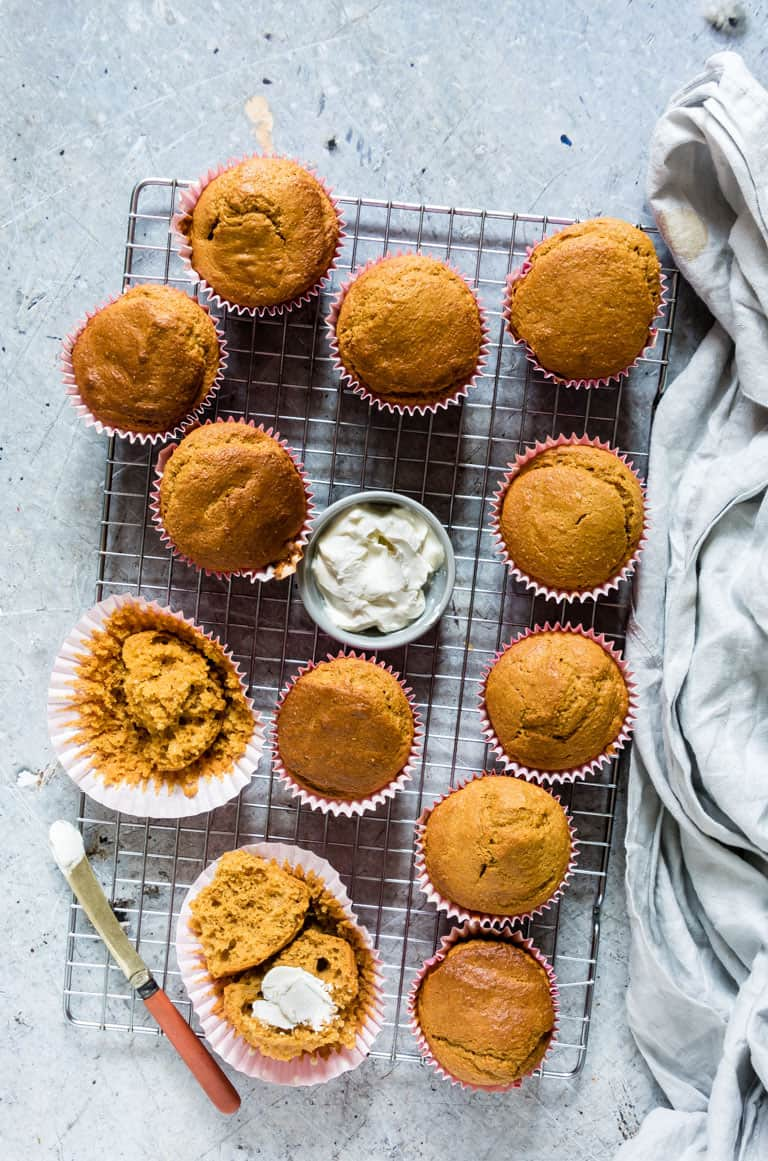 healthy carrot muffins on a table