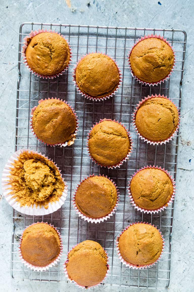 Skinny carrot muffins on a tbale