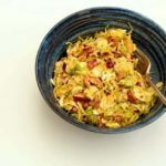 Caraway, Apple and Brussels Sprout Slaw with a Mango Yoghurt Dressing