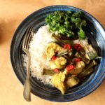 Roast Okra and Fish Curry with Garlic Kale
