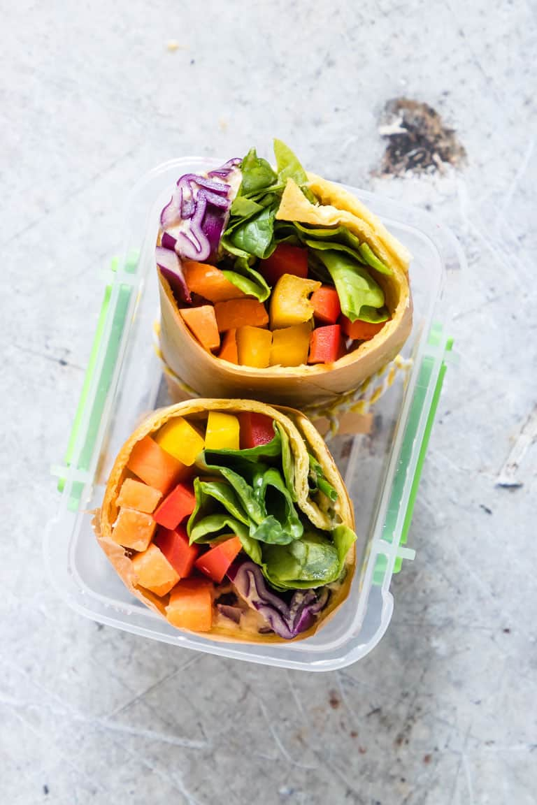rainbow vegetable tortilla warp in a lunch box