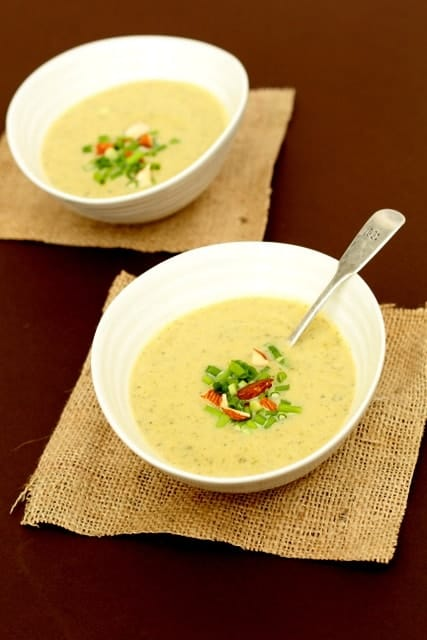 Cardamom, Almond and Courgette Soup is a delightful courgette soup recipe that is delicate, fragrant, and perfect for summer. #courgettesoup #courgettes #souprecipes #spicedcourgettesoup #zucchinisoup