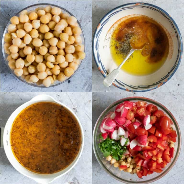 image collage showing the steps for making spiced instant pot chickpeas salad