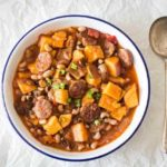 Chorizo, Black-eyed Beans and Butternut Squash Soup