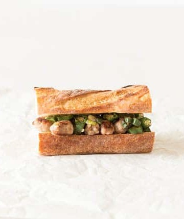 side view of okra sandwich with sausages inside