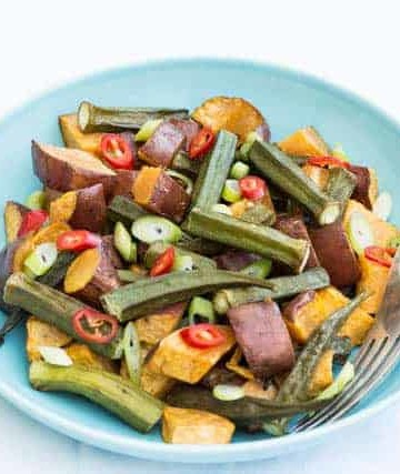 Roasted Sweet Potato and Okra Salad @ Recipes From A Pantry