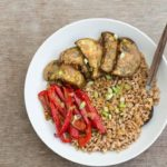 Roasted Aubergine and Farro Bowl with Coconut Sauce