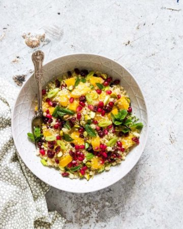 a bowl of colourful couscous salad