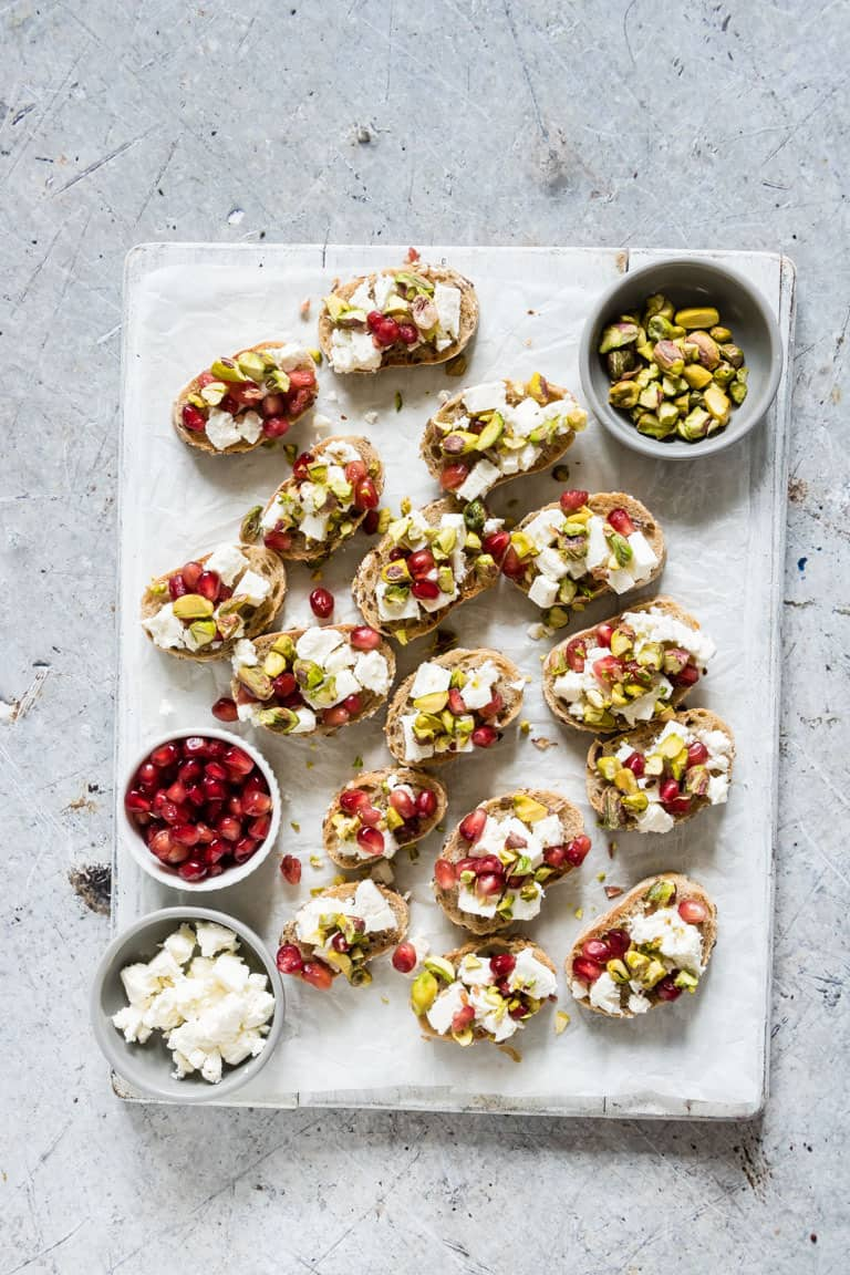 Need some easy Christmas Appetizer recipes? Then look no further than these colourful Pistachio, Feta and Pomegranate Crostini.