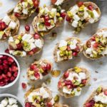 An easy Christmas Appetizer recipes? Then look no further than these colourful Pomegranate Feta and Pistachio Crostini.