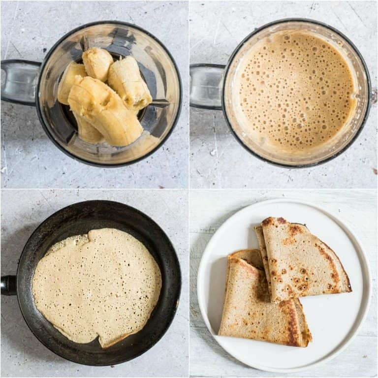 image collage showing the steps for making plantain pancakes