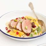 Baharat Spiced Roast Duck over an Orange and Pomegranate Couscous Salad