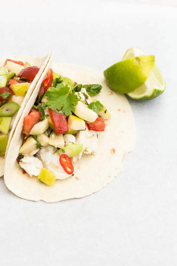 Grilled fish taco with guava salsa   Recipes From A Pantry