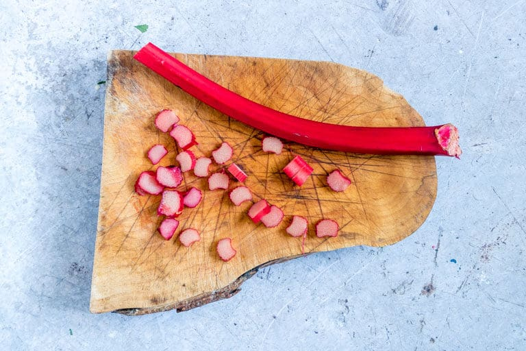 sliced rhubrb on a chopping board