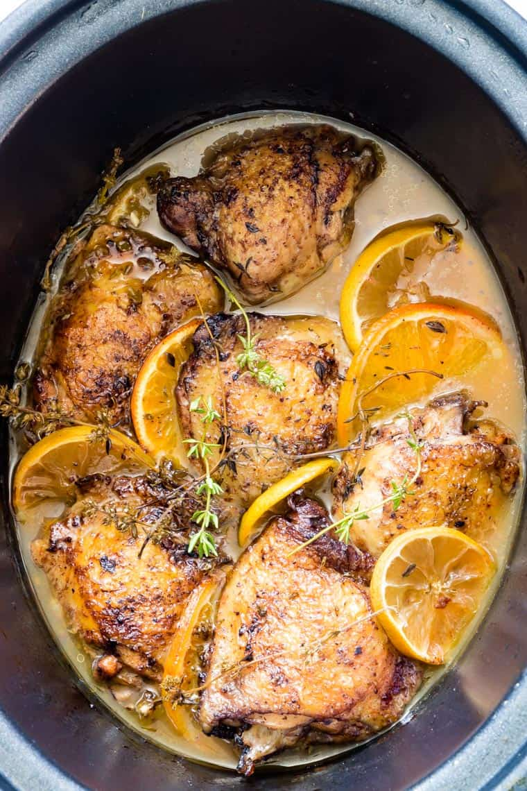 Spiced Lemon Crockpot Chicken Thighs | Recipes From A Pantry