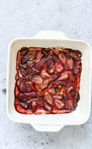 a tray of roasted strawberries