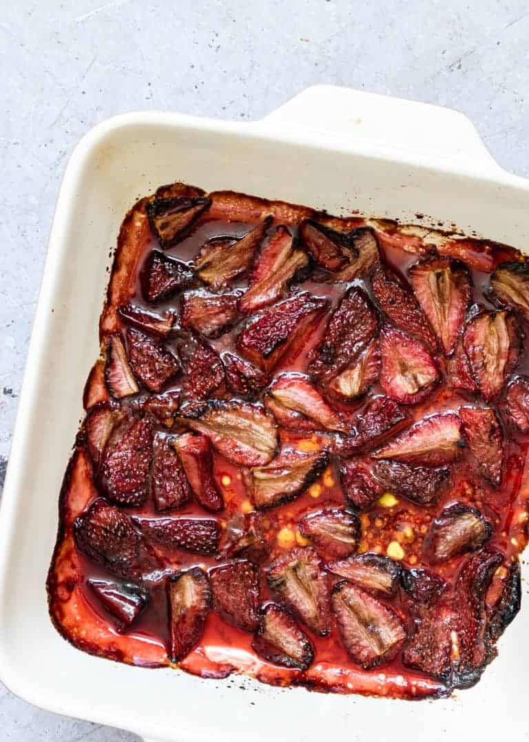 balsamic roasted strawberries in an oven tray