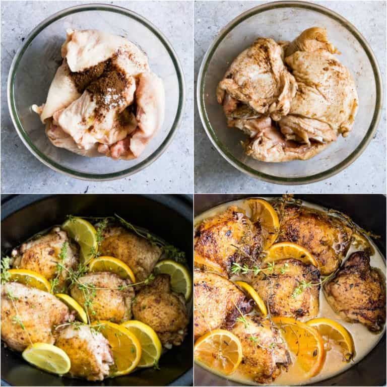 image collage showing the steps for making slow cooker chicken thighs