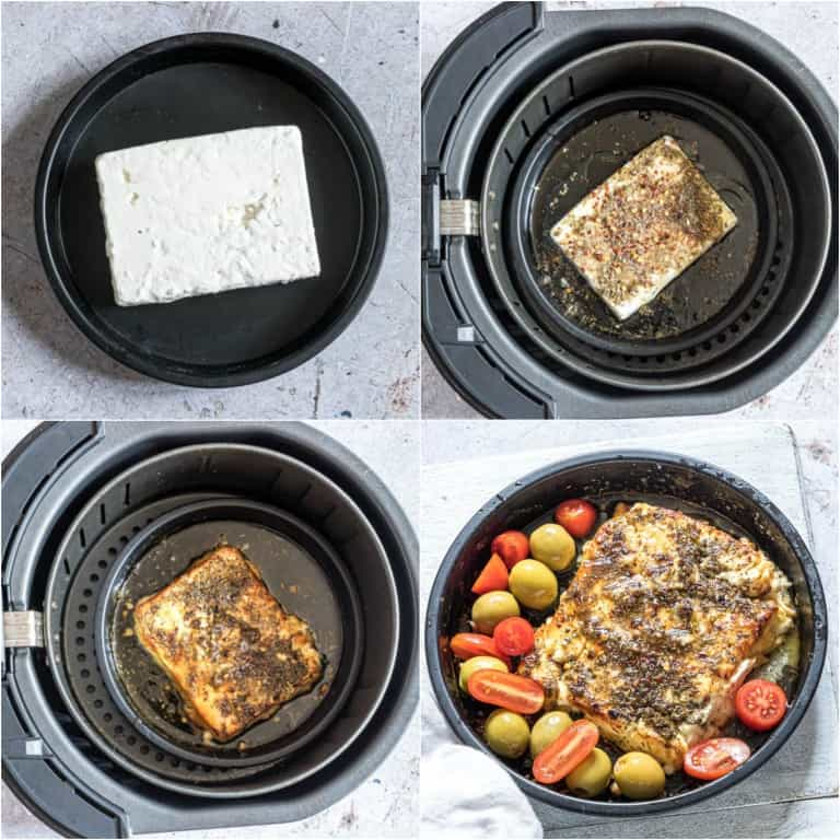 image collage showing the steps for making air fryer feta cheese appetizer