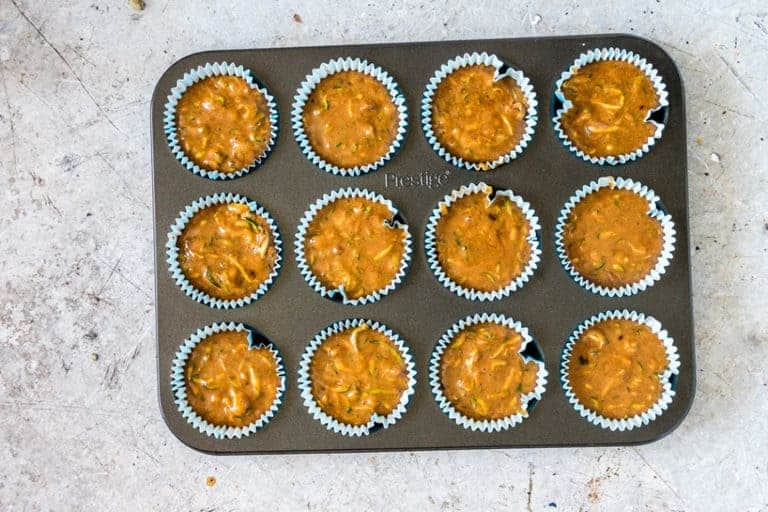 courgette muffins in baking tray