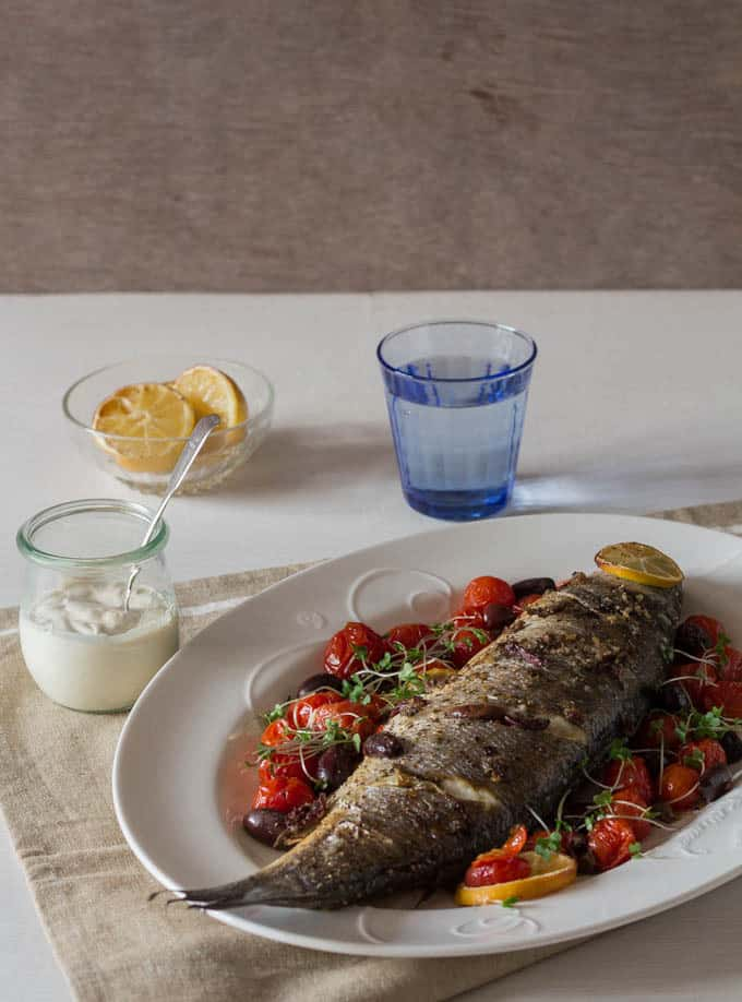 Whole Baked Sea Bass with Olives and Tahini Sauce | Recipes From A ...